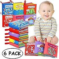 Libri di Stoffa Baby, Il Mio Primo Libro Morbido Non Tossico Libro, Giocattoli Educativi Regali per Il Primo Anno Neonati di 1 Anno Neonati Toddlers Touch Feel Activity (6 Set)
