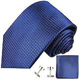 Paul Malone Krawatten Set 3tlg 100% Seide royal blau kariert (Überlange 165cm)