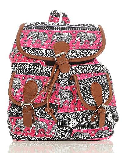 malito Damen Rucksack | Handtasche in trendigen Farben | Tasche mit vielen Mustern - Schultasche R800 (pink-Elefant) (Logo-muster-leder Tasche)