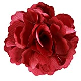 Anleolife 6pcs/lot Fabric Flower Hair Clips,Flower Corsage Brooch Pins,Women Flower Headwear Wedding Party Gift (red)