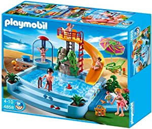 Playmobil 4858 Pool With Water Slide Amazon Co Uk Toys
