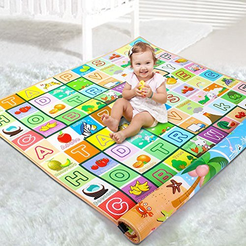 Ozoy Double Sided Water Proof Baby Mat Carpet Baby Crawl Play Mat Kids Infant Crawling Play Mat Carpet Baby Gym Water Resistant Baby Play & Crawl Mat,Set of 1(Color and Design May Vary)