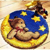 6 Modell Bär Knüpfteppich Formteppich für Kinder und Erwachsene zum Selber Knüpfen Teppich Latch Hook Kit child Rug Bear003 53 by 53 cm