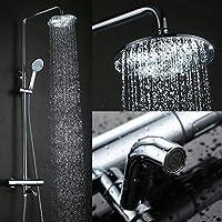 Kinse® elegante cromo Überkopf-Brauseset Rain Shower sistema doccia Stange mit Brausethermostat Regendusche Set doccia incl. Handbrause und Regenbrause