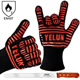 YELUN BBQ Grill Gloves - 932°F Extreme Heat Resistant Oven Mitts with 100% Cotton Lining - EN407 Certified Protective Grill Gloves, Barbecue Gloves, Oven Gloves, Kitchen Gloves, Cooking Gloves & Baking Gloves - Set of 2 (RED No.2)