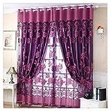 Voile Vorhang, BBring 1 Stück Vorhang Transparent Gardinen Sheer Voile Drapieren Volant Tulle Fenster mit Blumenmuster,250cm x 100cm (Violett)