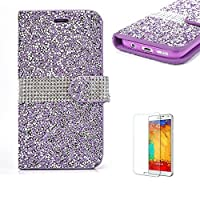 For Samsung Galaxy J5(2017 Model) Case J520 Cover [with Free Screen Protector],Funyye Diamond Bling Glitter Shining Wallet Case Crystal Rhinstone Cover PU leather Magnetic Full body Slim Fit Protective Cover for Samsung Galaxy J5(2017 Model)-Purple