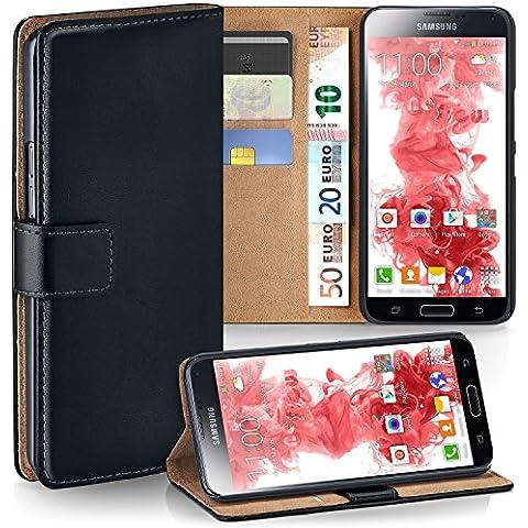 Bolso OneFlow para funda Samsung Galaxy S5 / S5 Neo Cubierta con tarjetero | Estuche Flip Case Funda móvil plegable | Bolso móvil funda protectora accesorios móvil protección paragolpes en Nero