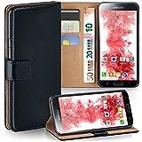 Samsung Galaxy S5 Mini | Hülle Schwarz mit Karten-Fach [OneFlow 360° Book Klapp-Hülle] Handytasche Kunst-Leder Handyhülle für Samsung Galaxy S5 Mini Case Flip Cover Schutzhülle Tasche