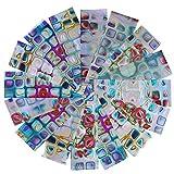 BONNIESTORE 16 Pcs Transferencia Nail Pegatinas Irregular Gradiente Maze Nail Foil Cuadrado Estrellado Cielo DIY Manicura Nail Art DIY Decoración