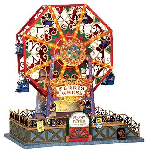 Lemax - Victorian Flyer Ferris Wheel - Animiertes Riesenrad mit Beleuchtung & Sound - Höhe 33,5cm - 4,5V Adapter - Weihnachtsdorf