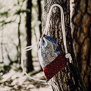 Trachtentasche Frida Bag 034 in Blau Rot Tasche Turnbeutel Rucksack fürs Dirndl Oktoberfest tauglich- Handgemacht in Südtirol