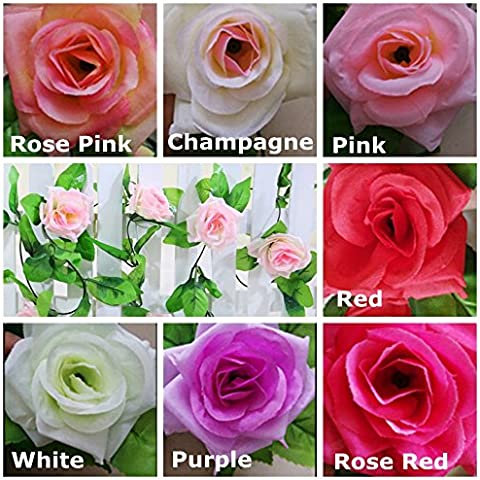 Bluelover 7 simulación rota de flor rosa Artificial casa Wisteria decoración fiesta de boda de colores-rojo