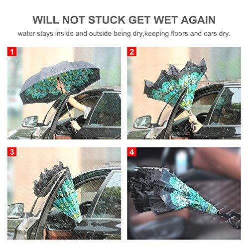 HISEASUN Parapluie Inversé Innovant Anti-UV Double Couche Coupe-Vent Mains Libres poignée en Forme C - Idéal pour Voyage et Voiture(Peacock Ling)