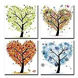 Cairnsi 4 Stück moderne gerahmte Landschaft Kunstwerk Giclee Leinwand Bilder Bilder auf Leinwand Wandkunst für Wohnzimmer Schlafzimmer Home Office Dekorationen, vier Jahreszeiten Baum