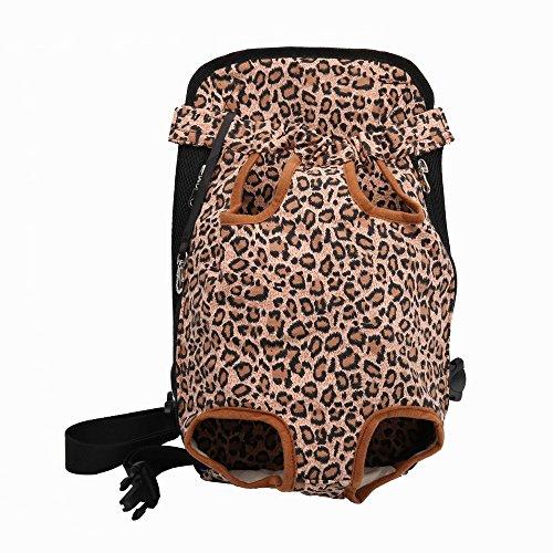DJG Pet Out Tragetasche Pet Backpack Pet Brusttasche Easy-Fit für unterwegs Wandern Camping für kleine mittlere Hunde-Leopard,L