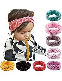 tininna Lot de 8pour bébé en croix motif à pois noeud coton Bandeau Head Band Bandeau cache-oreilles pour enfant pour filles enfants