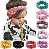 TININNA 8 Stück Niedlich Tupfen Bowknot Stirnband Haarband Baumwolle Turban Stirnbänder Haarzubehör für Baby Mädchen Kleinkind