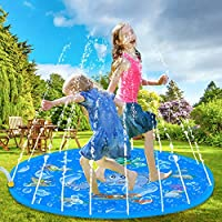 Babybonic Sprinkle Splash Water Play Mat Pad, 150cm Summer Kids Inflatable Sprinkler Pool for Toddlers Infants Boys Girls Children Outdoor Party, for Baby in Outside Garden Yard Patio