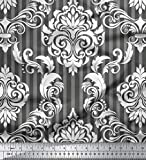 Soimoi Grau Viskose Chiffon Stoff Streifen & Vektor-Design Damast Stoff Meterware 42 Zoll breit