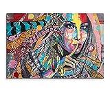 Wandbild 120x80cm Fotodruck aus Ölgemälde – Farbenfrohe Frau mit Traumfänger auf Leinwand für Wohnzimmer, Büro, Schlafzimmer, Ferienwohnung u.v.m. Gestochen scharf in Top Qualität