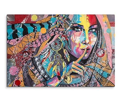 Sinus Art Wandbild 120x80cm Fotodruck aus Ölgemälde - Farbenfrohe Frau mit Traumfänger auf Leinwand für Wohnzimmer, Büro, Schlafzimmer, Ferienwohnung u.v.m. Gestochen scharf in Top Qualität