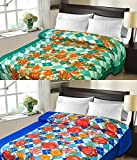 #1: Christy's Collection Super Soft Printed 2 Piece Cotton Blend AC Double Blanket - Multicolor