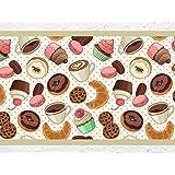 """'I Love de pared adhesivo B de 10072Cocina cenefa """"café y pasteles cenefa Cocina Pared Decoración magdalenas Cupcakes croissants, Höhe: 15 cm; Breite: 5 m"""