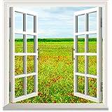 XMJR Pegatinas de pared falsa ventana natural paisaje pastoral dormitorio fondo sin dejar una pasta adhesiva especificaciones 60 * 80 cm