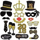 Konsait 2018 Nouvel An Party Accessoires Photobooth Drôle DIY Kit Photo booth Props déguisement Masquerade chapeau Lunettes pour adultes enfants Nouvel An anniversaire mariage décoration faveur (20Pcs)