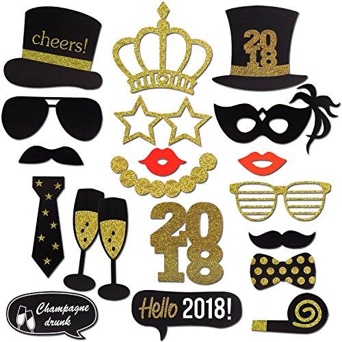Neujahr 2018 Fotorequisiten Fotoaccessoires (20Pcs), Konsait Silvester Photo Booth Props Set mit Stick für Erwachsene Kinder Party Accessoires 2018 Neujahr Party Dekor Verkleidung Mitbringsel Maske