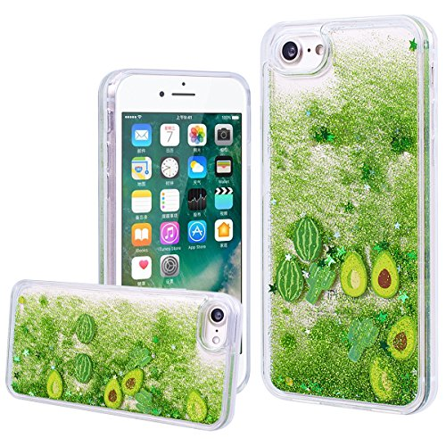 WE LOVE CASE Coque iPhone 7, Coque iPhone 7 de Protection en Hard Dur Bling Coque iPhone 7 Paillette Liquide Transparent avec Motif Antichoc Bumper Mince, Ultra Slim Original Fine Officiel Fille Femme Cactus Vert