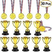 FEPITO 30 Stück Trophäen Medaillen Set 10 Stücke Gold Kunststoff Trophy Cup und 20 Stücke Gewinner Medaillen für Kid Party Sports Awards