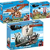 PLAYMOBIL Dragons 3er Set 9244 9460 9461 Dragos Schiff + Fischbein und Fleischklops + Grobian mit Schafschleuder