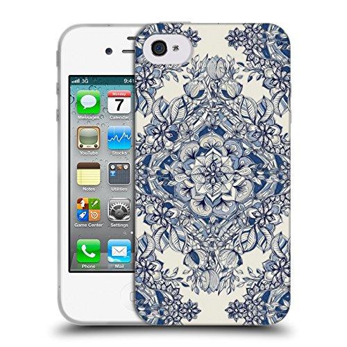 Offizielle Micklyn Le Feuvre Diamanten Doodle Navy Blau Und Kreme Blumige Muster Soft Gel Hülle für Apple iPhone 6 Plus / 6s Plus Diamanten Doodle Navy Blau Und Kreme