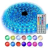 RaThun Led Strip Streifen Beleuchtung 5M 16.4 Ft 5050 RGB 300 LED IP65 Wasserdicht Flexible Farbe wechselnden Komplettpaket mit 44 Tasten IR-Fernbedienung, Kontrollbox, 12V 5A Netzteil für Heim Dekorative