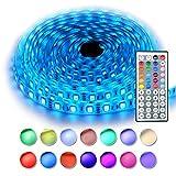 RaThun 5m RGB LED Strip IP65 Wasserdicht LED Streifen mit 300 LEDs (SMD 5050),inkl. 44 Tasten IR-Fernbedienung, Controller und 12V 5A Netzteil
