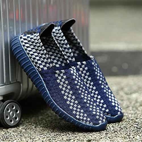 Peggie House Sport Chaussures De Couple Modèles Tissé Chaussures Casual Hommes Et Femmes Chaussures tissées Taille: 35-44 Bleu