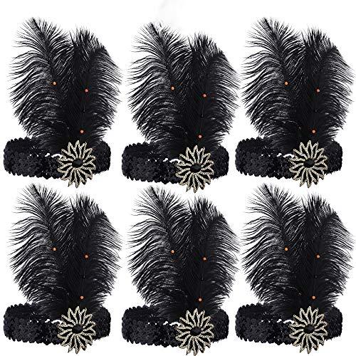 (ArtiDeco 1920s Feder Stirnband 20er Jahre Stil Flapper Haarband Gatsby Stirnband Damen Kostüm Charleston Accessoires (Schwarz 6Stück))