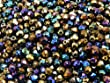100pcs Tch�que facettes perles de verre, Fire-Polished Beads, ronde 4mm Jet Iris Rainbow