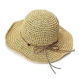 SIGGI Damen Floppy klappbarer Sonnenhut Strohhut breite Krempe Beige