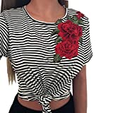 LILICAT Frauen Mode T-Shirt Sommer Oberteile Sexy Gestreift Bluse Damen Chic Crop Tops Applikationen Rose Hemd Kurze Ärmel Tank Tops (L, Noir)