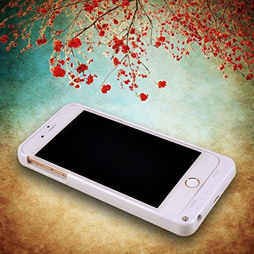 """Stoga, Custodia con batteria integrata, custodia ricaricabile, 4800mAh, power bank per iPhone 6Plus da 5,5"""" pollici + supporto verticale + batteria ricaricabile + custodia protettiva + indicatori LE 4800 mAh/Bianco"""