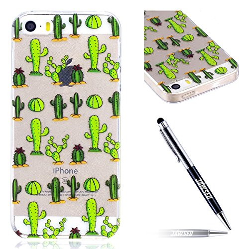 iPhone 5 Custodia Transparente, iPhone 5S Cover Silicone, JAWSEU Super Sottile Crystal Chiaro Custodia per iPhone 5/5S/SE Bumper Corpeture Case Creativo Disegno Antiurto Anti-scratch Shock-Absorption  Cactus