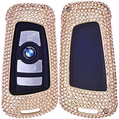 [M. JVisun] Handmade auto keyless entry chiave con diamante bling case cover skin per BMW Serie 12FOB (parte) 3/GT Serie 456X3X4M2, M3, M4, M5, M6, in alluminio Shell + pelle bovina chiave catena