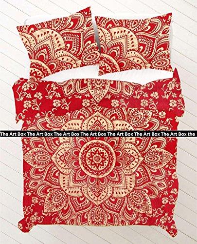 THE ART BOX Goldene und Rote Blume Indische Bettbezug Bettwäsche Bettdecke 3 Stück Baumwolle Bettbezug Set Queen Size 85x90 Zoll (Stück 3 Queen-size-schlafzimmer-set)
