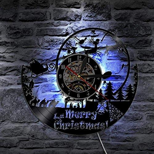Fröhlich Weißnachten Mauer Lampe Weißnachtsmann Claus Thema Fernbedienung Steuerung Antiquität Vinyl Aufzeichnung Uhr Cool Leben Zimmer Dekorativ ()
