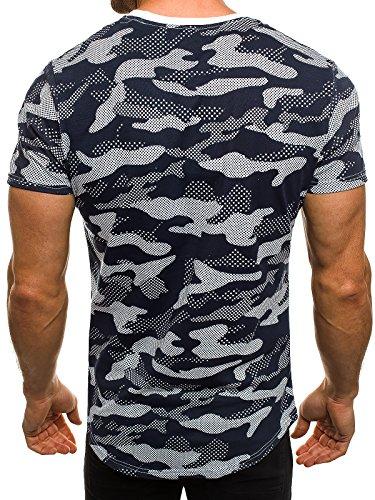 OZONEE Herren T-Shirt mit Motiv Kurzarm Rundhals Figurbetont J.STYLE SS179 Grau_JS-SS125