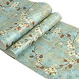 Country Vintage Blumen selbstklebend Kontakt Papier Abziehen und Aufkleben Vliestapete für Wohnzimmer Schlafzimmer Wand Art Deco 52,9 x 300 cm