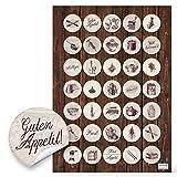 Lot de 70 petits autocollants ronds beige brun de 3 cm pour décorer et embellir des recettes de cuisine Design vintage